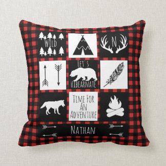 Rustic Buffalo Plaid Wilderness Animals & Name Cushion
