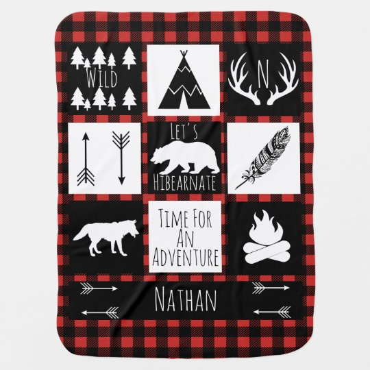 Rustic Buffalo Plaid Wilderness Animals & Name Receiving Blankets