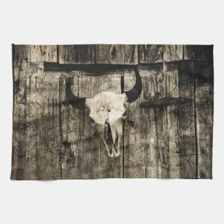 Rustic buffalo skull with horns on a barn tea towel