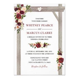 Rustic Burgundy Blush Floral Boho Wedding Arch Invitation
