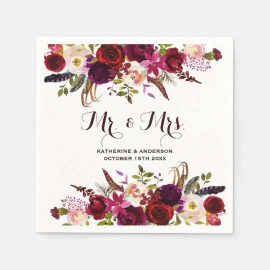 Rustic Burgundy Chic Floral Mr and Mrs Wedding