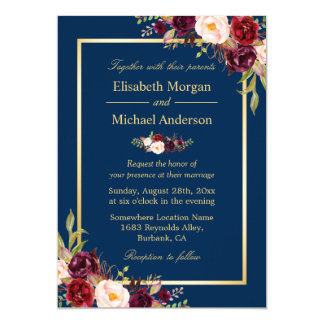 Rustic Burgundy Floral Gold Navy Blue Wedding Card