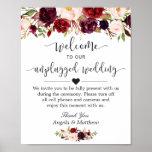 Rustic Burgundy Floral Unplugged Wedding Sign