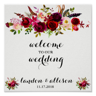 Rustic Burgundy Floral Watercolor Wedding Sign