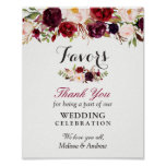 Rustic Burgundy Floral Wedding Favours Thank You Poster