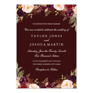 Rustic Burgundy Floral Wedding Invitation