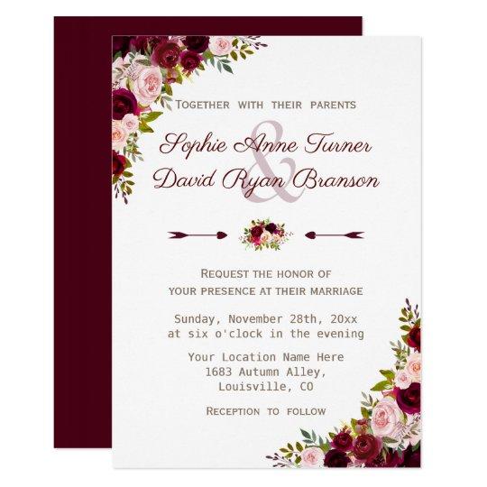 Rustic Mason Jar Floral Wedding Invitations Burgundy: Rustic Burgundy Marsala Floral Wedding Invitation