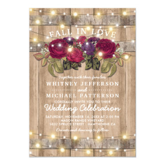 Rustic Burgundy Marsala Red Floral Fall Wedding Card