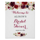 Rustic Burgundy Red Floral Bridal Shower Sign