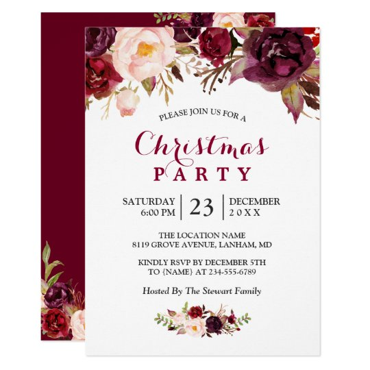 Rustic Burgundy Red Floral Chic Christmas Party Card
