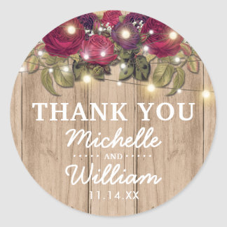 Rustic Burgundy Red Floral Fall Wedding Favor Classic Round Sticker