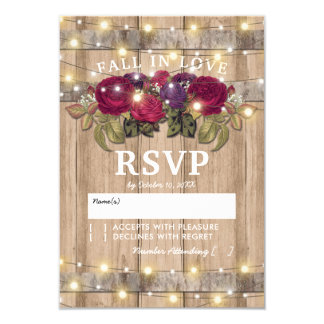 Rustic Burgundy Red Floral Fall Wedding Response Card