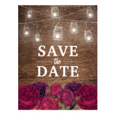 Rustic Burgundy Red Floral Save the Date