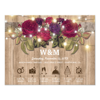 Rustic Burgundy Red Floral Wedding Day Timeline Card