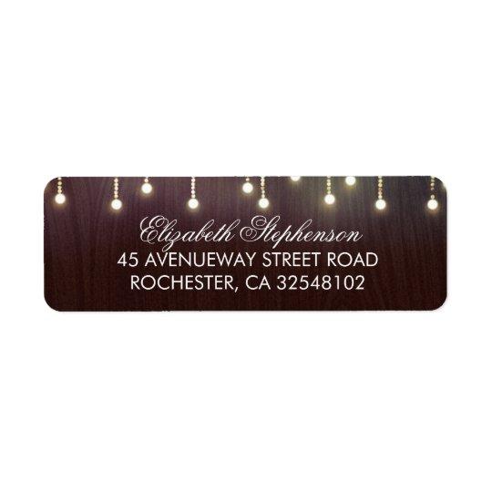 Rustic Burgundy Wood and String Lights Return Address Label