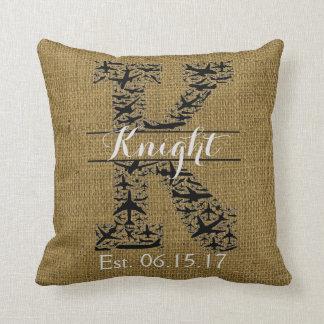 "Rustic Burlap Airplane Split Monogram ""K"" Cushion"