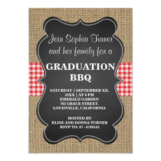 Rustic Burlap and Chalkboard GRADUATION BBQ Custom Card