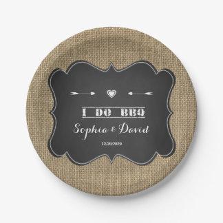 Rustic Burlap and Chalkboard I DO BBQ Custom Paper Plate