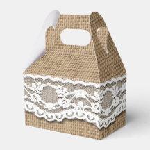 Rustic Burlap and Lace Art Gable Favor Box Wedding Favour Boxes