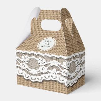 Rustic Burlap and Lace Art Gable Favor Box Wedding Favour Box