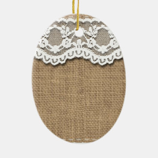Rustic Burlap and Lace Ceramic Oval Decoration