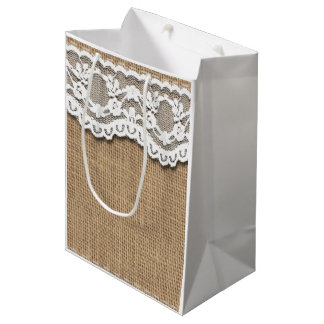Rustic Burlap and Lace Effect Paper Bag