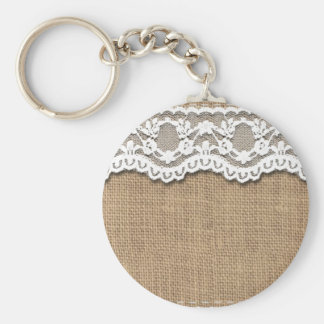 Rustic Burlap and Lace Key Ring