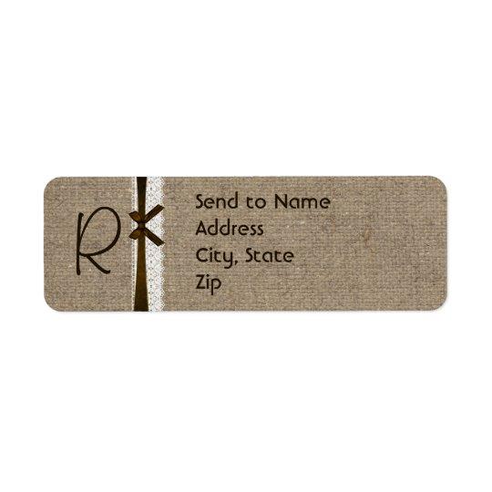Rustic Burlap and Lace Monogram Address Label