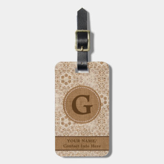 Rustic Burlap and Lace Monogram Luggage Tag