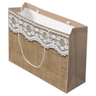 Rustic Burlap and Lace Paper Bag Large Gift Bag