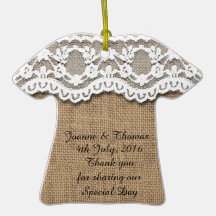 Rustic Burlap and Lace Personalise Wedding Favour Christmas Ornament