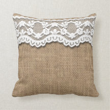 Rustic Burlap and Lace Pillow