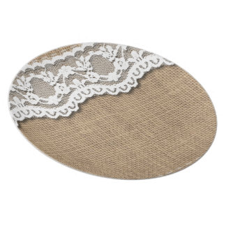 Rustic Burlap and Lace Plate