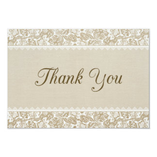 Rustic Burlap and Lace Thank You Card