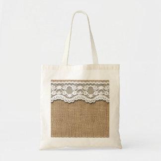 Rustic Burlap and Lace Tote Bag