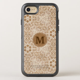 Rustic Burlap and Lace with Optional Monogram OtterBox Symmetry iPhone 8/7 Case