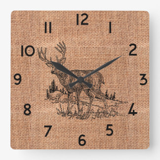 Rustic Burlap and Pencil Sketch Buck Square Wall Clock