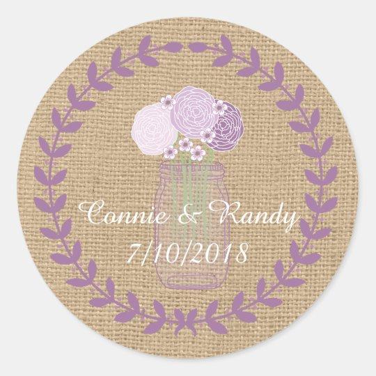 Rustic Burlap and Purple Mason Jar Flowers Wedding