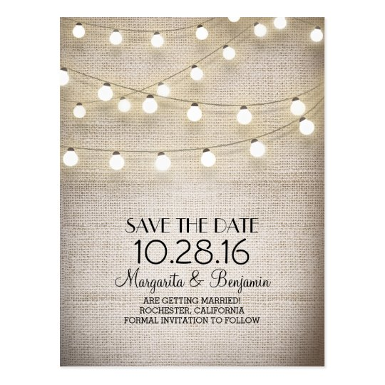 Rustic burlap and string lights save the date