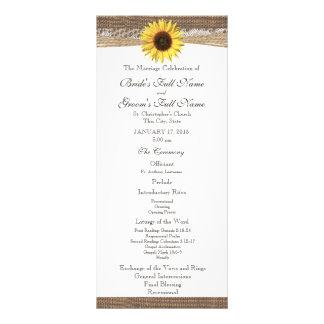 Rustic Burlap and Sunflower Wedding Program Rack Card