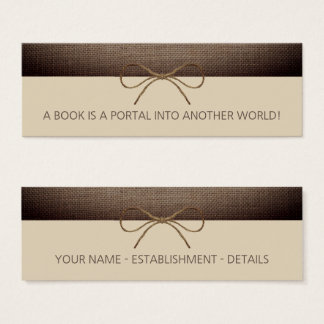 Rustic Burlap and Twine Bow Bookmark Mini Business Card