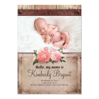 Rustic Burlap and Wood Baby Girl Photo Birth Card