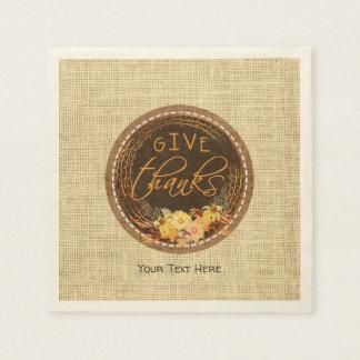 Rustic Burlap, Autumn Floral Wreath-GIVE THANKS Disposable Serviettes