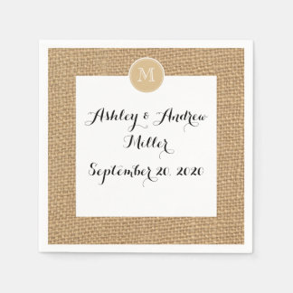 Rustic Burlap Background Monogram Disposable Napkin