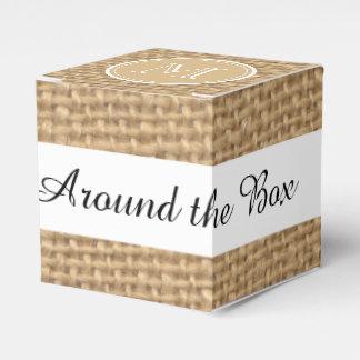 Rustic Burlap Background Monogram Favour Box
