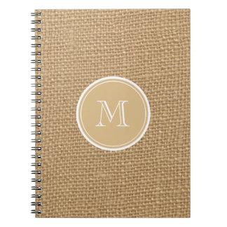 Rustic Burlap Background Monogram Notebook