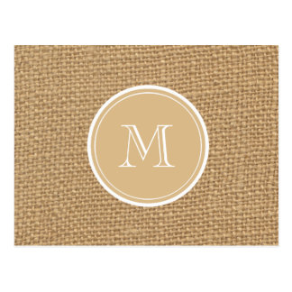 Rustic Burlap Background Monogram Postcard