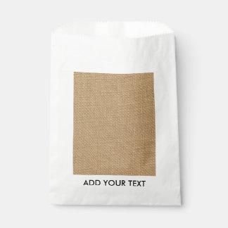 Rustic Burlap Background Printed Favour Bags