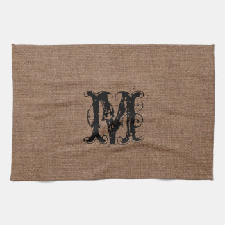 Rustic Burlap Black Monogram - Shabby Chic Tea Towel