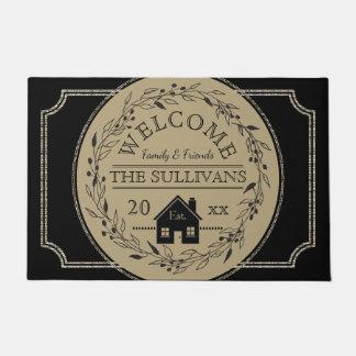 Rustic Burlap | Black Wreath House WELCOME Name Doormat